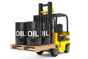 Forklift Truck with Oil Barrels over Pallet