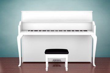 Old Style Photo. White Piano