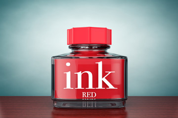 Old Style Photo. Red Ink Bottle