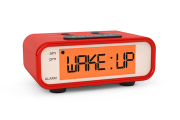 Modern Digital Alarm Clock with Wake Up Sign