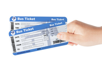 Bus tickets holded by hand