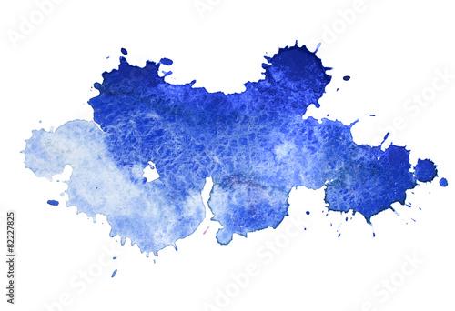 Leinwandbild Motiv Abstract watercolor aquarelle hand drawn colorful blue art paint