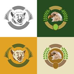 набор логотипов с дикой кошкой и орлом