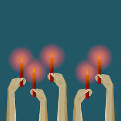 Up hands icon with candles. Vector illustration