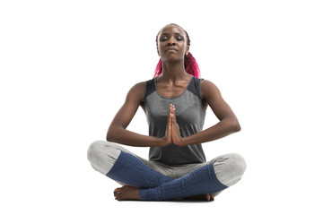 Woman doing yoga sport exercises