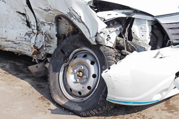 Damaged car after the crash