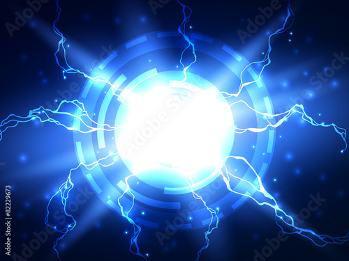 Abstract blue lightning vector science background - 82229673