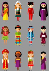 multicultural national people in  traditional costumes
