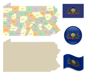 High Detailed Map of Pennsylvania and Flag Icons