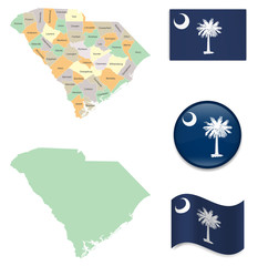 High Detailed Map of South Carolina With Flag Icons