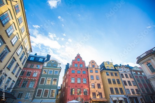 Foto op Aluminium Oude gebouw Colorful houses in Stockholm old town