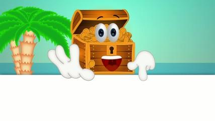 Funny treasure chest cartoon illustration comic hands
