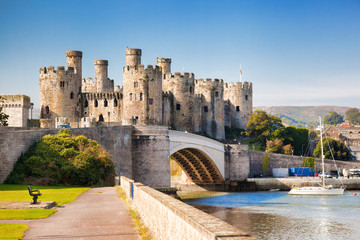 Conwy Castle in Wales, United Kingdom, series of Walesh castles