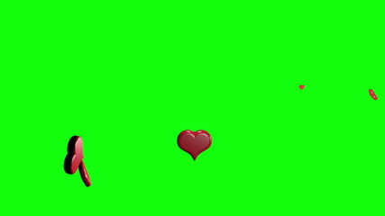 hearts exlpoding green screen