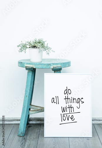 Poster Poster DO THINGS WITH LOVE. Hipster scandinavian style room