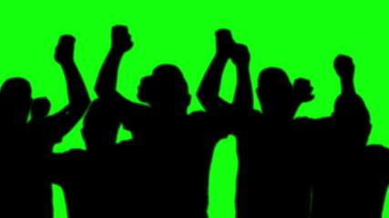 group man silhouettes dancing green screen