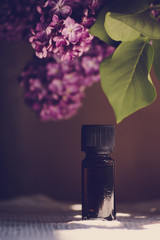 Closeup of oil from the fragrant flowers of lilac