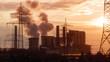Braunkohlekraftwerk im Sonnenaufgang - 82235049