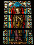 Stained glass in the Cathedral of Luxemburg of Saint Raphael.