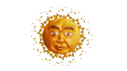 Clay sun with funny face, loop, alpha matte