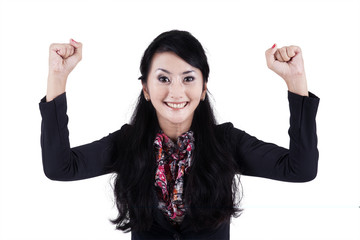 Successful businesswoman expressing happy 1