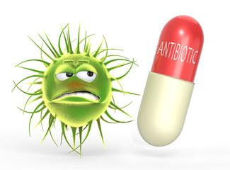 Bacteria sad with pill