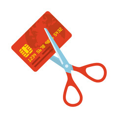 Red credit card and scissors