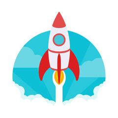 Startup illustration. The rocket takes off against the blue sky