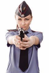 Woman police officer pointing a Gun