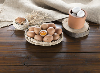 Eggs on Wood with Copy Space