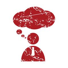 Red grunge speaking people logo