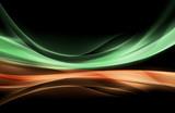 Fototapeta Green Orange Waves Abstract