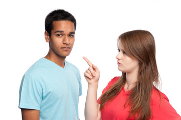 Girl Pointing At Boy.