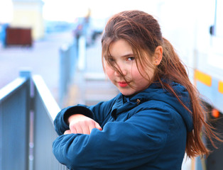 preteen beautiful girl angry portrait
