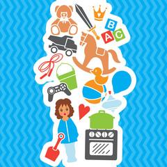 Children Toys Gift Shop Birthday Set, Vector Illustration