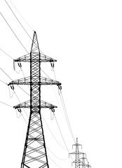high voltage posts on a white background