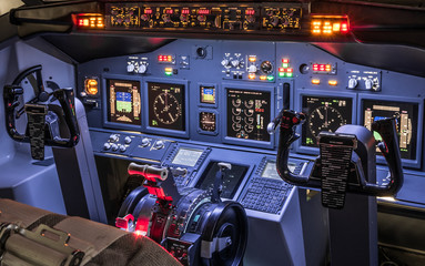Lateral view of cockpit in homemade flight simulator