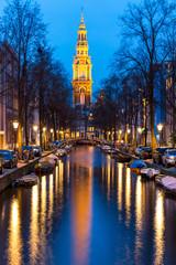 South Church Zuiderkerk Amsterdam at dusk