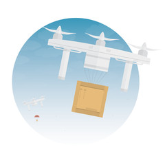 Delivery drone with the package. Vector illustration