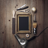 Fototapety Vintage barber tools and black poster with a frame