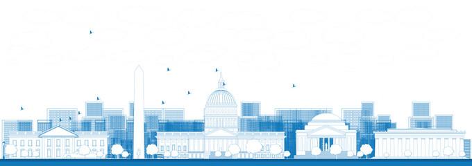 Outline Washington DC city skyline.