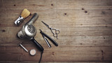 Vintage barber equipment on wood desk with place for text - 82248047