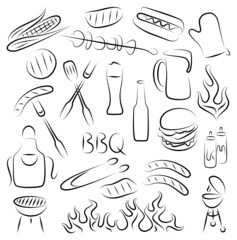 Set of Abstract BBQ Items