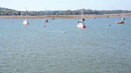 Boats on River Exe, near the mouth of the river