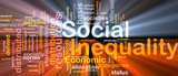 Social inequality wordcloud concept illustration glowing poster