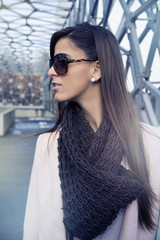 Beautiful young woman portrait in the city