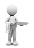 Fototapety omino bianco cameriere con vassoio