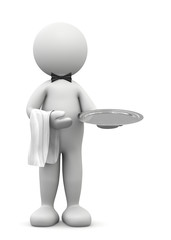 omino bianco cameriere con vassoio