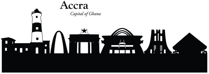Vector illustration of cityscape of Accra, Ghana
