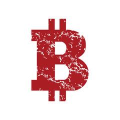 Red grunge Bitcoin logo